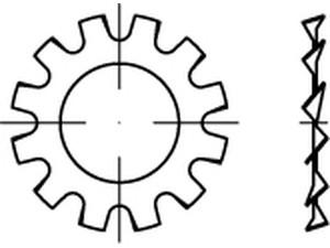 RONDELLE EVENTAIL DIN 6797 DENTURES EXTERIEURES TYPE A ZINGUE BLANC